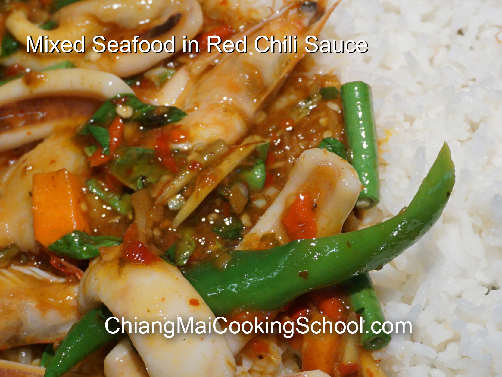 Delicious Mixed Seafood in Red Chili Sauce from Chiang Mai Cooking School