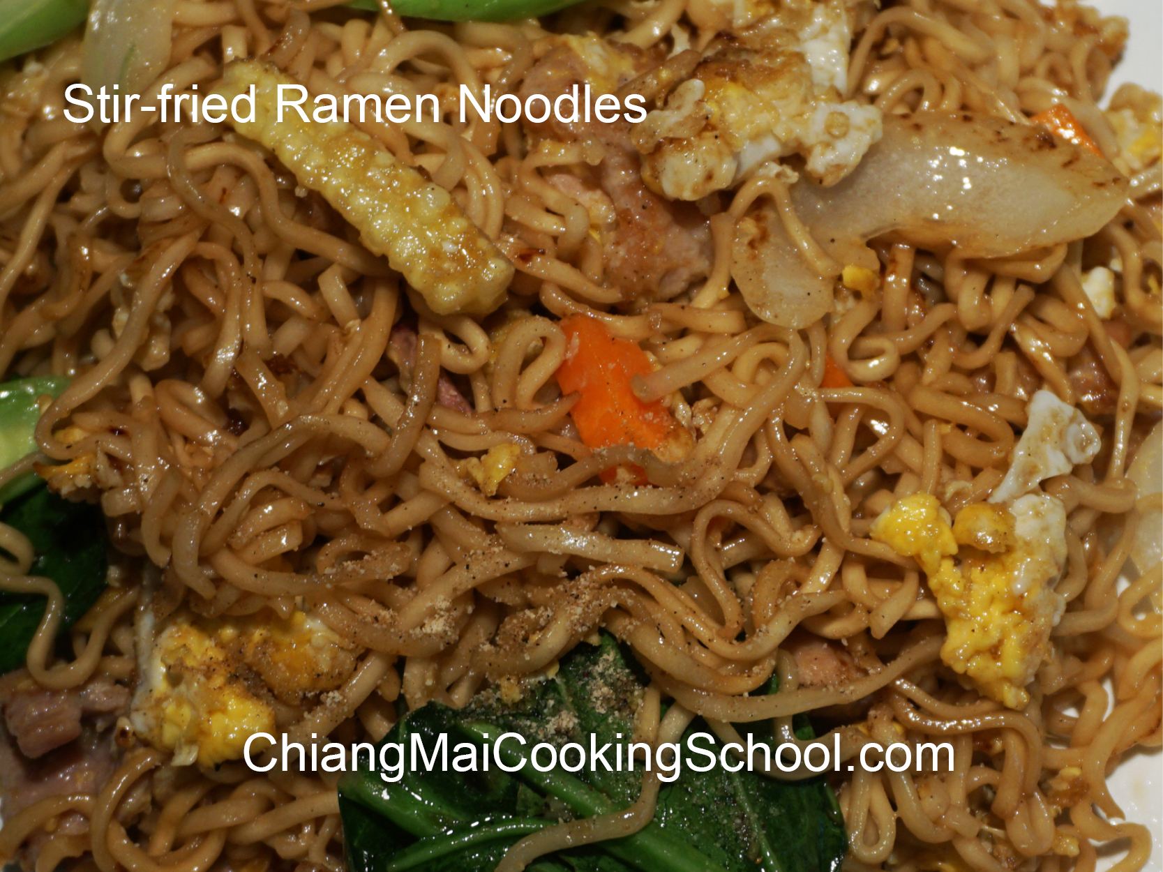 Delicious Stir-fried Ramen Noodles from Chiang Mai Cooking School