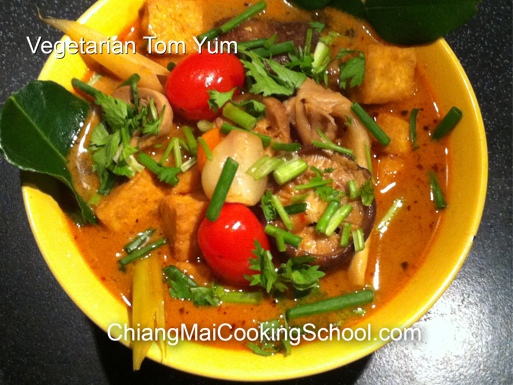 Delicious Sweet Vegetarian Tom Yum from Chiang Mai Cooking School